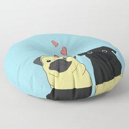 Pugs In Love Blue Floor Pillow