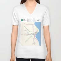 milwaukee V-neck T-shirts featuring Milwaukee Transit System Map by Carticulate Maps