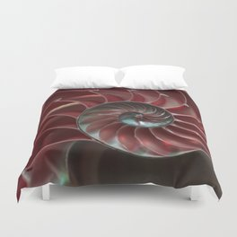 Closeup of red ammonite shell Duvet Cover