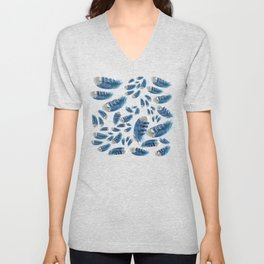 """""""Blue feathers flying in the air"""" Unisex V-Neck"""