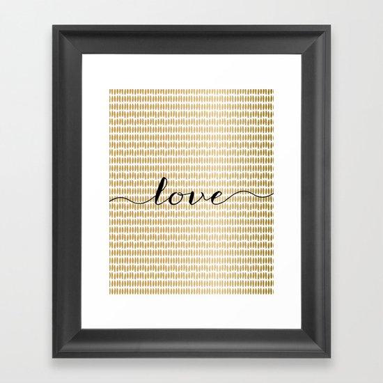 Love Gold Framed Art Print