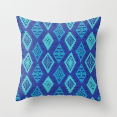 Blue Tribal Print Throw Pillow