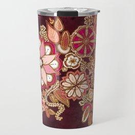 Golden Embroidery Flowers Travel Mug
