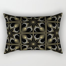 Art Deco Starburst Moon and Fan // Silver Black and Gold // Eight Pointed Star Tile Illustration Rectangular Pillow