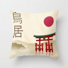 Torii Gate - Painting Throw Pillow