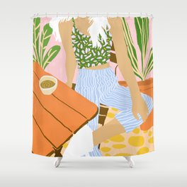 Kawa Tea #illustration #fashion Shower Curtain