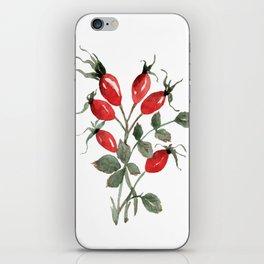 Watercolor Rosehips iPhone Skin
