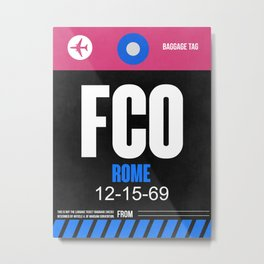 FCO Rome Luggage Tag 2 Metal Print