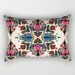 Bright Folk Art Pattern - hot pink, orange, blue & green Rectangular Pillow