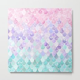 Mermaid Pastel Iridescent Metal Print