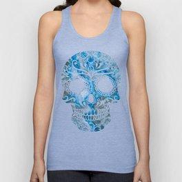 Blue Lace Sugar Skull Unisex Tank Top