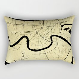 New Orleans Black and Gold Map Rectangular Pillow