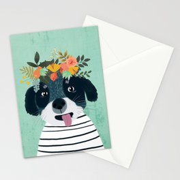 PUPPY DOGS WITH FLOWERS Stationery Cards