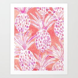 FLESHED OUT Tropical Pink Pineapples Art Print