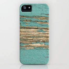Rustic Wood Ages Gracefully - Beautiful Weathered Wooden Plank - knotty wood weathered turquoise pai iPhone Case