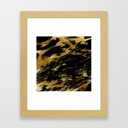 Luxury and sparkle gold glitter and black marble Framed Art Print