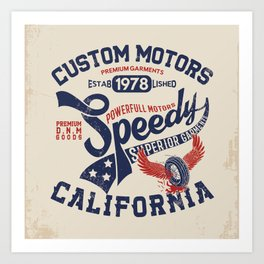 Custom motors california graphic Art Print