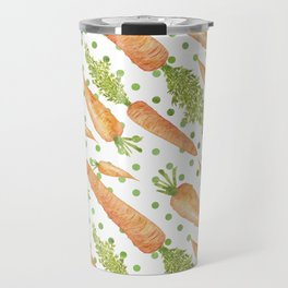 Carrots on Dotted Green Backgrond Watercolor Travel Mug