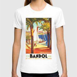 Vintage Bandol France Travel Poster T-shirt