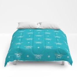 Bee Stamped Motif on Pool Blue Comforters