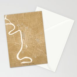Vintage map of Baton Rouge Louisiana in sepia Stationery Cards