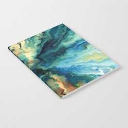 Marbled Ocean Abstract, Navy, Blue, Teal, Green Notebook