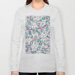 Pink and Teal Abstract Watercolor and Geometric Long Sleeve T-shirt