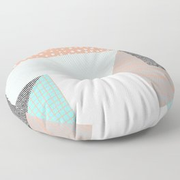 Pattern Play in Peach and Light Blue Floor Pillow