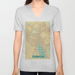 Zurich Map Retro Unisex V-Neck