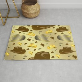 brown, golden pattern of little cowboy hats Rug