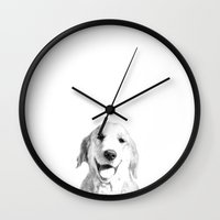 golden retriever Wall Clocks featuring Amber // Golden Retriever by Dog of Art