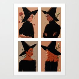 autumn witches Art Print