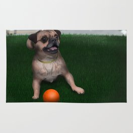 Dog playing with ball in Toronto park Rug