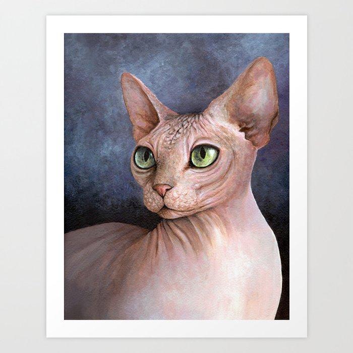 Cat 578 Sphynx Cat Art Print by artbylucie