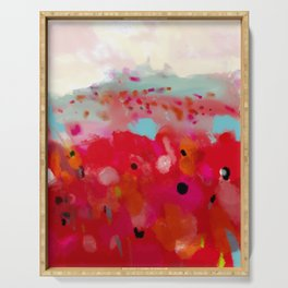 red poppies field abstract Serving Tray