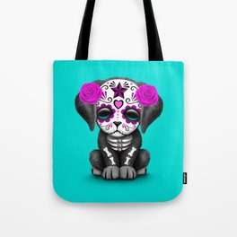 Cute Purple and Blue Day of the Dead Puppy Dog Tote Bag