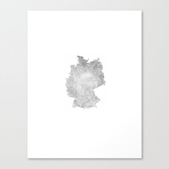 Black & White Etching Map of Germany Canvas Print