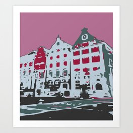 Old town houses grey red digital graphic Art Print