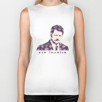 ron swanson Biker Tanks featuring Ron Swanson by MisfitKismet Designs