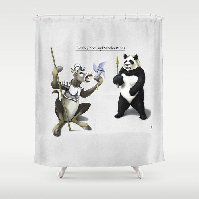 Donkey Xote And Sancho Panda Shower Curtain