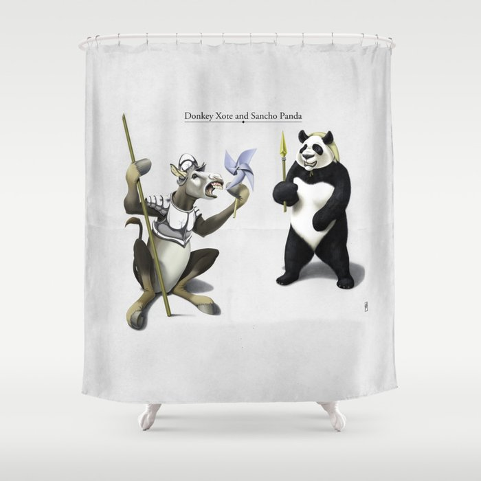 Donkey Xote And Sancho Panda Shower Curtain By Robpsnow