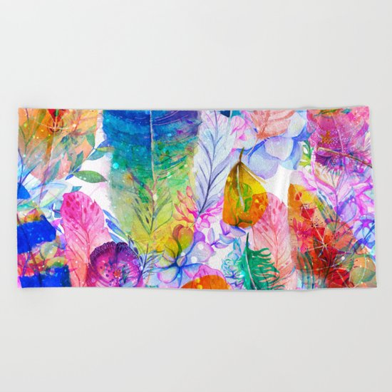 spring feathers Beach Towel