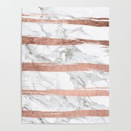 Modern chic faux rose gold brush stripes white marble Poster