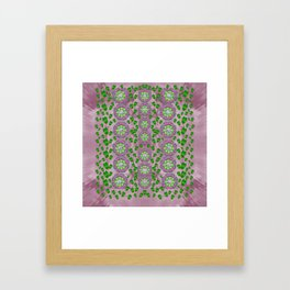 ivy and  holm-oak with fantasy meditative orchid flowers Framed Art Print