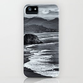 Landscape Ecola State Park in Black and White iPhone Case