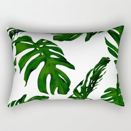 Simply Tropical Palm Leaves in Jungle Green Rectangular Pillow