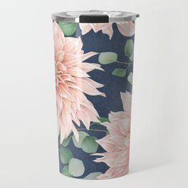 Dahlias & Silver dollars pattern Travel Mug