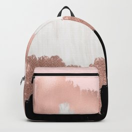 Girly Modern Rose Gold Pink Glitter Brushstroke Art Backpack