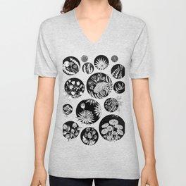 Flowers pattern ink art black and white Unisex V-Neck