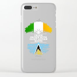 Irish Grown With Saint Lucian Roots Clear iPhone Case